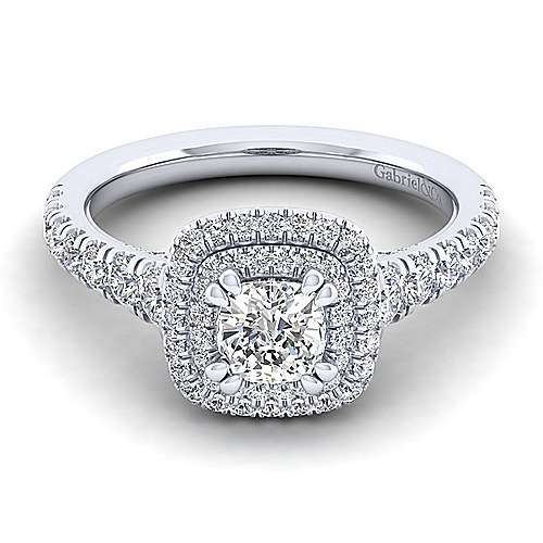 Ginger 14k White Gold Cushion Cut Double Halo Engagement Ring angle 1