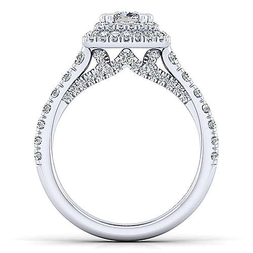 Ginger 14k White Gold Cushion Cut Double Halo Engagement Ring angle 2