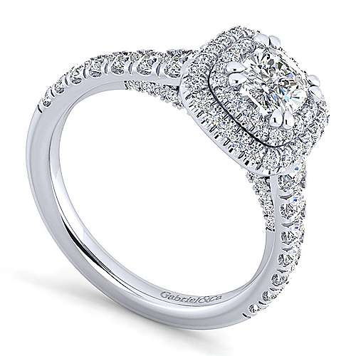 Ginger 14k White Gold Cushion Cut Double Halo Engagement Ring angle 3