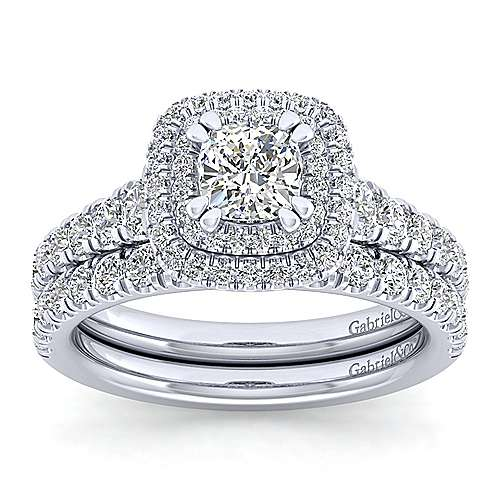 Ginger 14k White Gold Cushion Cut Double Halo Engagement Ring angle 4