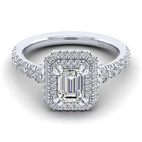 Gabriel - Ginger 14k White Gold Emerald Cut Double Halo Engagement Ring