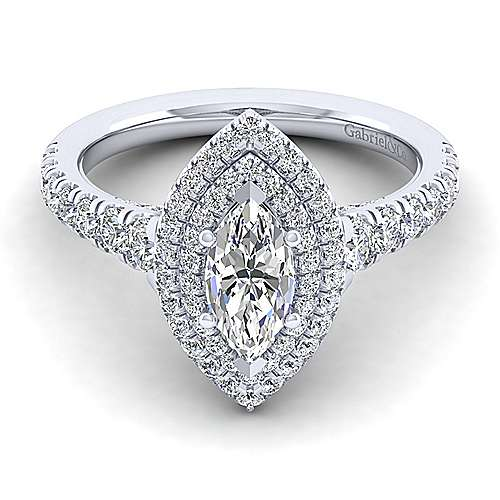 Gabriel - Ginger 14k White Gold Marquise  Double Halo Engagement Ring