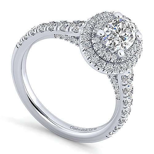 Ginger 14k White Gold Oval Double Halo Engagement Ring angle 3
