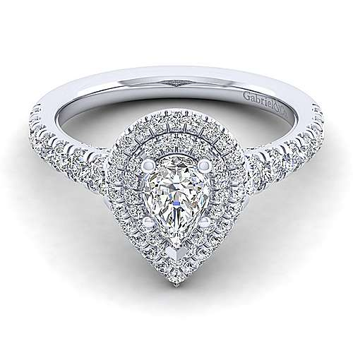 Gabriel - Ginger 14k White Gold Pear Shape Double Halo Engagement Ring
