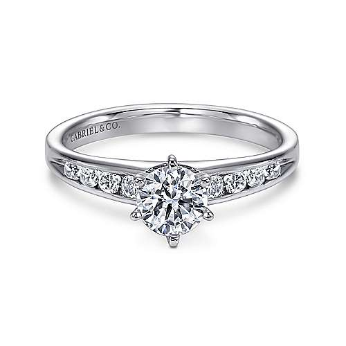 Gabriel - Ginny 14k White Gold Round Straight Engagement Ring