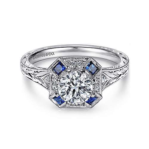Gabriel - Girasol Platinum Round Halo Engagement Ring