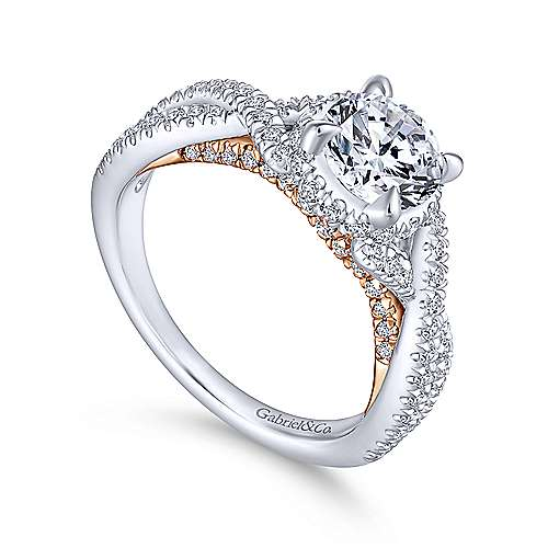 Gisela 14k White And Rose Gold Round Twisted Engagement Ring angle 3