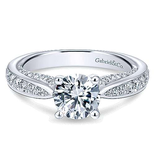 Gabriel - Gladiola 14k White Gold Round Straight Engagement Ring
