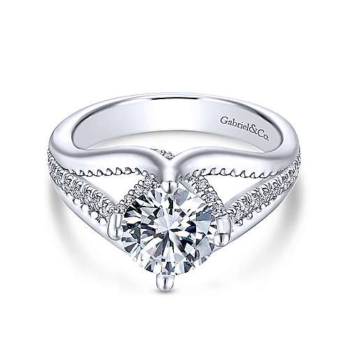 Gladys 18k White Gold Round Split Shank Engagement Ring angle 1