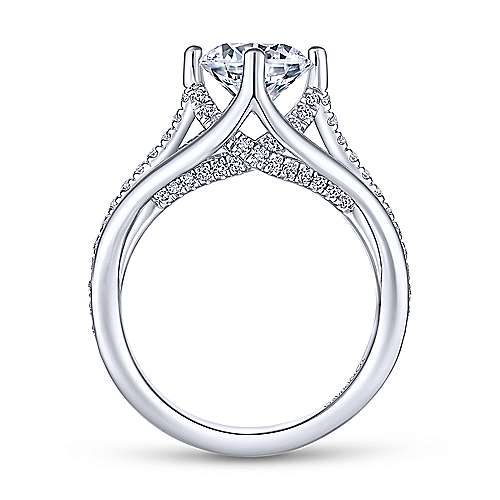 Gladys 18k White Gold Round Split Shank Engagement Ring angle 2