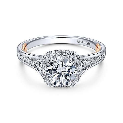 Gabriel - Glendale 18k White And Rose Gold Round Halo Engagement Ring