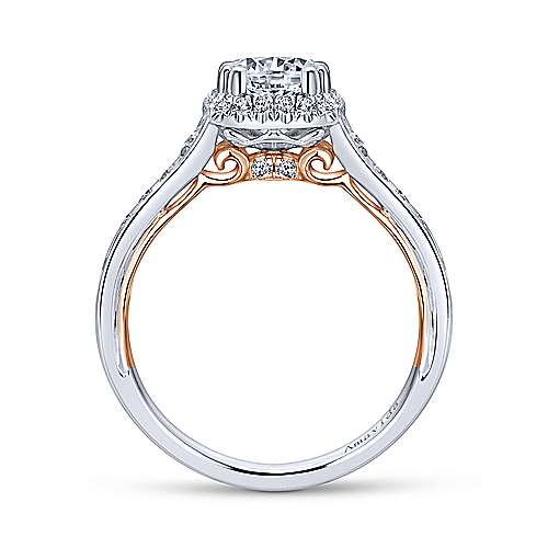 Glendale 18k White And Rose Gold Round Halo Engagement Ring angle 2