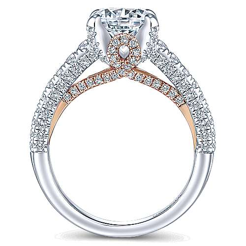 Glicinia 18k White And Rose Gold Round Straight Engagement Ring angle 2