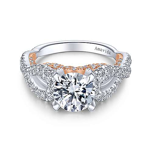 Glory 18k White And Rose Gold Round Twisted Engagement Ring angle 1