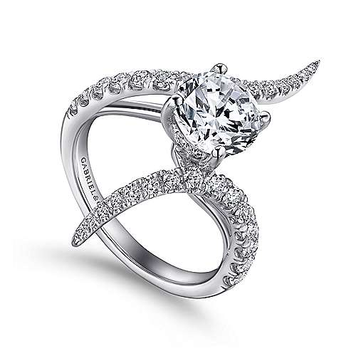 Glory 18k White Gold Round Bypass Engagement Ring angle 3