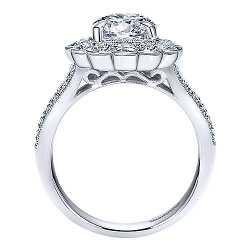 Grace 18k White Gold Round Halo Engagement Ring angle 2