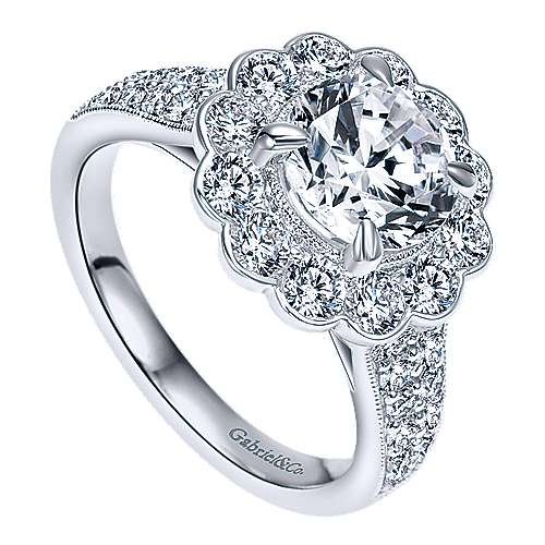 Grace 18k White Gold Round Halo Engagement Ring angle 3