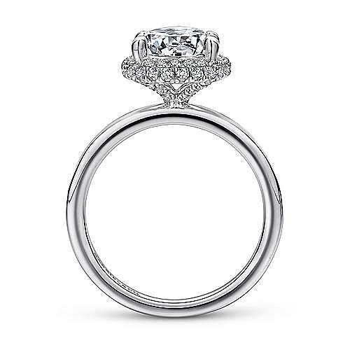 Graham 18k White Gold Round Double Halo Engagement Ring angle 2