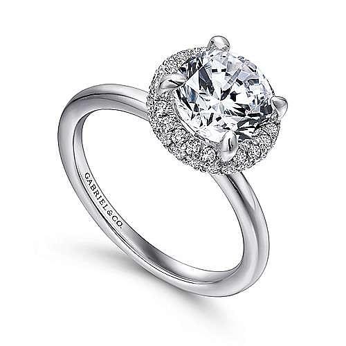 Graham 18k White Gold Round Double Halo Engagement Ring angle 3