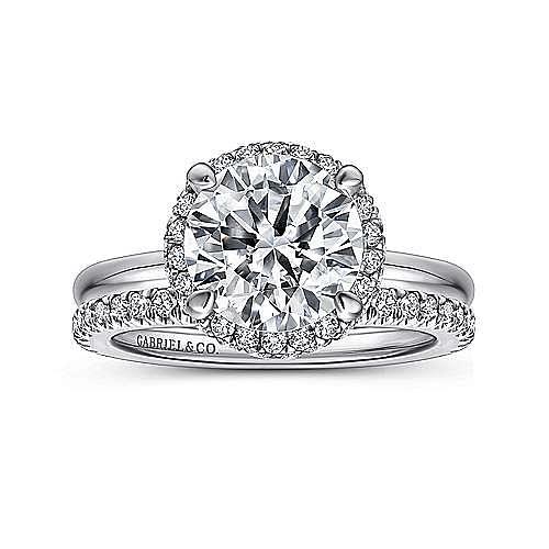 Graham 18k White Gold Round Double Halo Engagement Ring angle 4