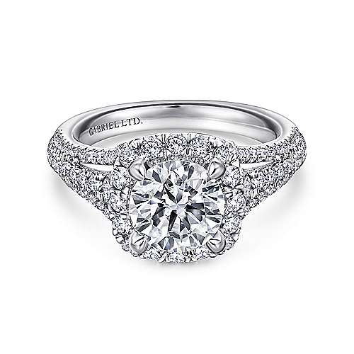 Gabriel - Gramercy 18k White Gold Round Halo Engagement Ring
