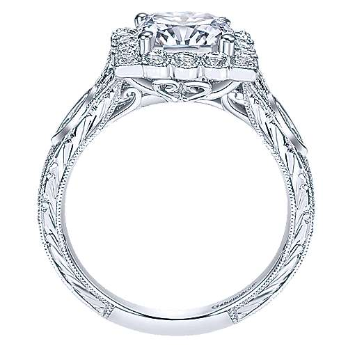 Grand 14k White Gold Cushion Cut Halo Engagement Ring angle 2