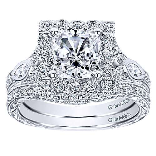 Grand 14k White Gold Cushion Cut Halo Engagement Ring angle 4