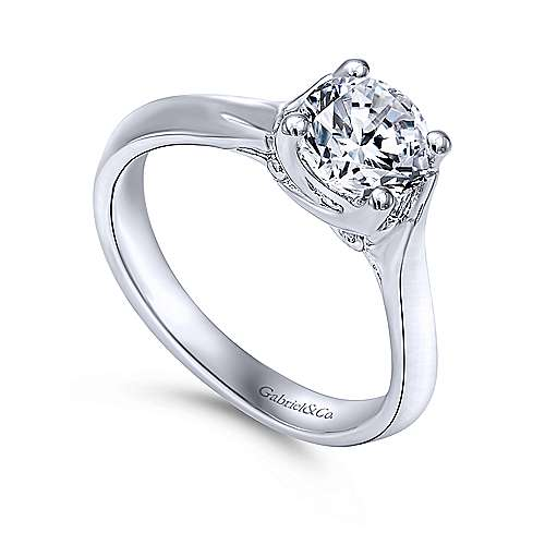 Greer 14k White Gold Round Twisted Engagement Ring angle 3