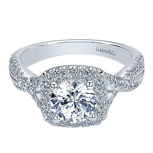 Greta 14k White Gold Round Halo Engagement Ring angle 1