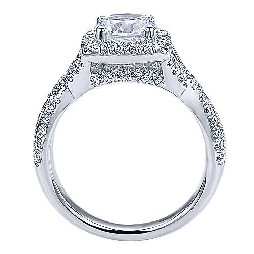 Greta 14k White Gold Round Halo Engagement Ring angle 2