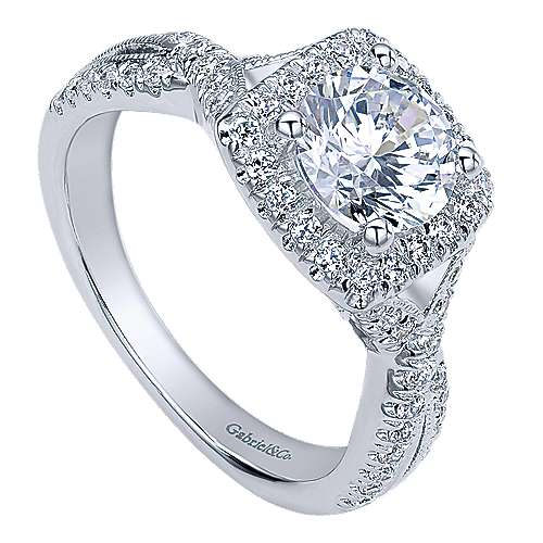 Greta 14k White Gold Round Halo Engagement Ring angle 3