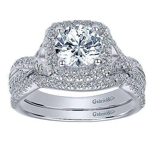 Greta 14k White Gold Round Halo Engagement Ring angle 4