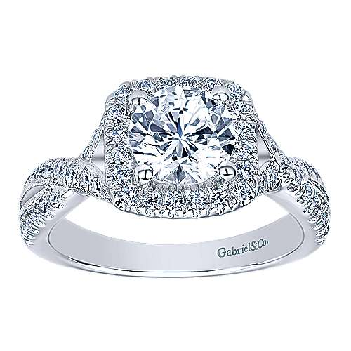 Greta 14k White Gold Round Halo Engagement Ring angle 5