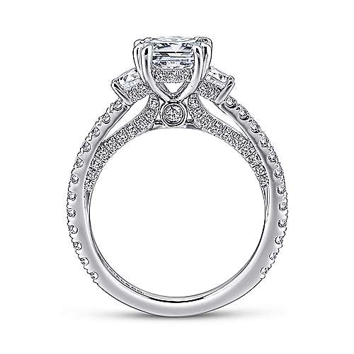 Gretchen 18k White Gold Cushion Cut 3 Stones Engagement Ring angle 2