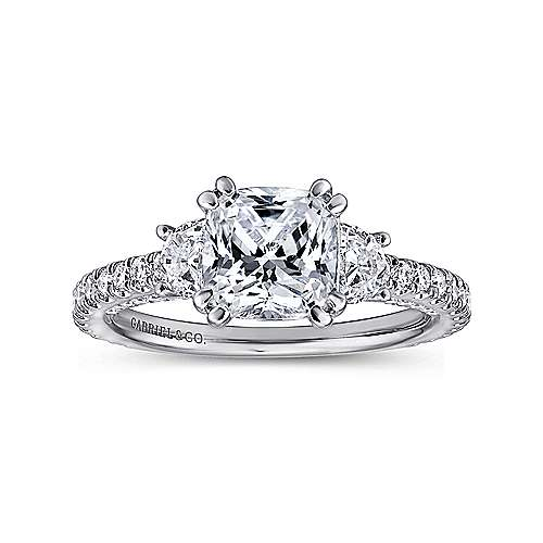 Gretchen 18k White Gold Cushion Cut 3 Stones Engagement Ring angle 5