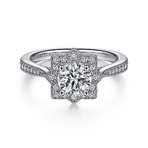 Gabriel - Gretel 14k White Gold Round Halo Engagement Ring
