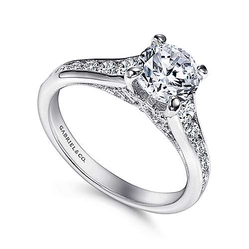 Guinevere 18k White Gold Round Straight Engagement Ring angle 3