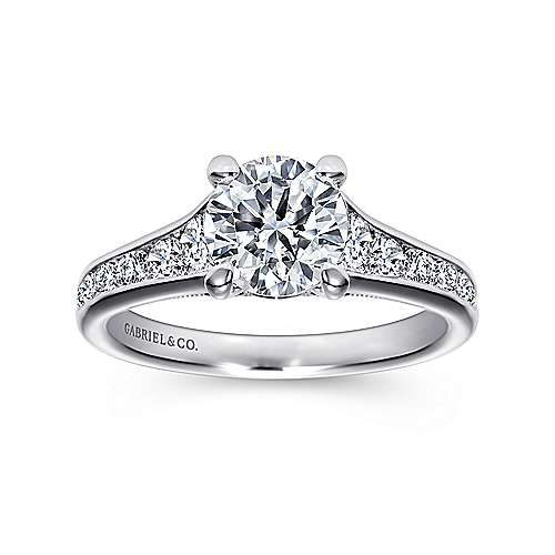 Guinevere 18k White Gold Round Straight Engagement Ring angle 5