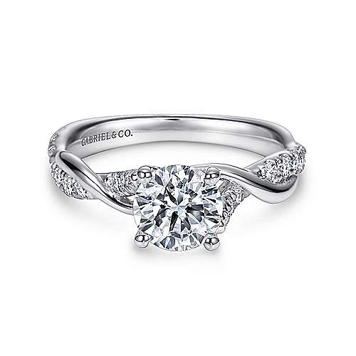 Gabriel - Gwen 18k White Gold Round Twisted Engagement Ring