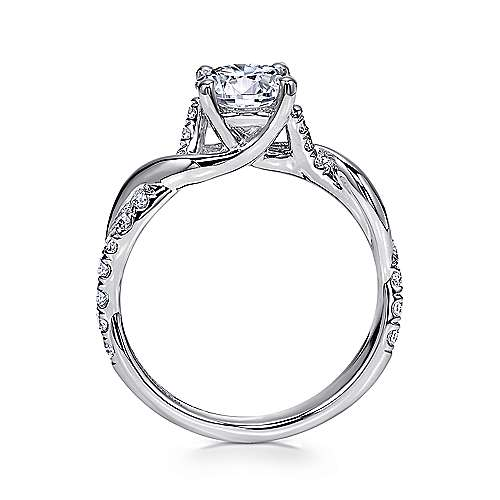 Gwen 18k White Gold Round Twisted Engagement Ring angle 2