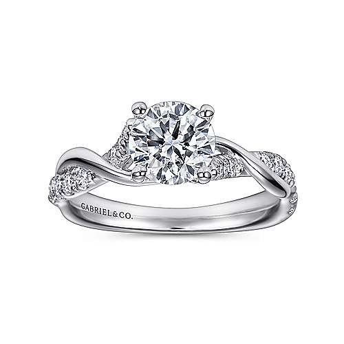 Gwen 18k White Gold Round Twisted Engagement Ring angle 5