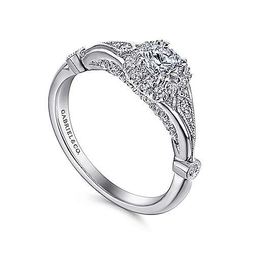 Hale 14k White Gold Round Halo Engagement Ring angle 3