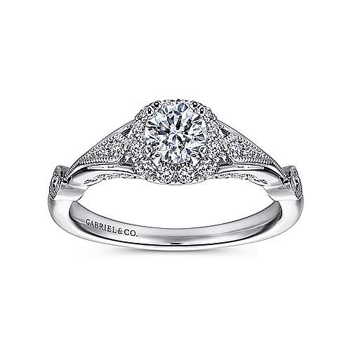 Hale 14k White Gold Round Halo Engagement Ring angle 5