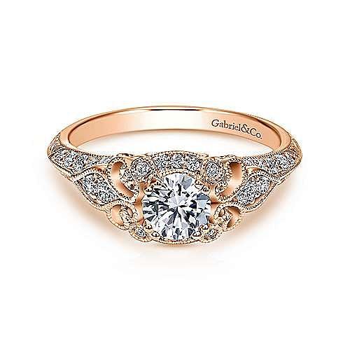 Gabriel - Halsey 14k Rose Gold Round Halo Engagement Ring