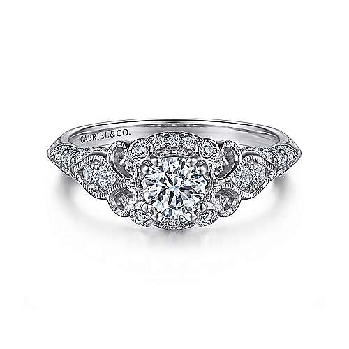 Gabriel - Halsey 14k White Gold Round Halo Engagement Ring