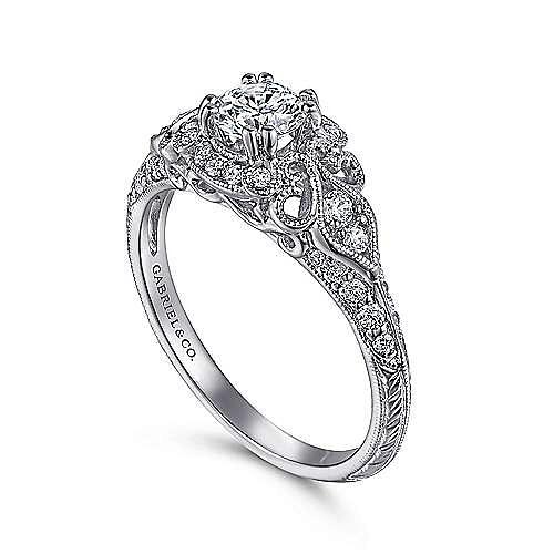 Halsey 14k White Gold Round Halo Engagement Ring angle 3