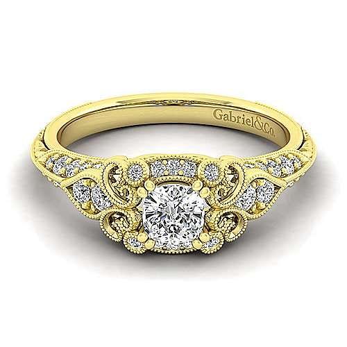 Halsey 14k Yellow Gold Cushion Cut Halo Engagement Ring angle 1