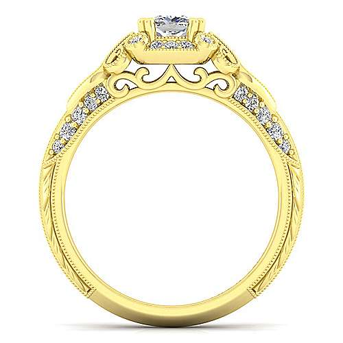Halsey 14k Yellow Gold Cushion Cut Halo Engagement Ring angle 2