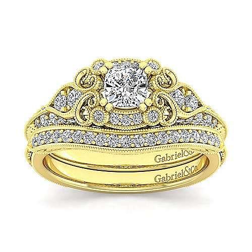 Halsey 14k Yellow Gold Cushion Cut Halo Engagement Ring angle 4