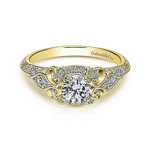 Gabriel - Halsey 14k Yellow Gold Round Halo Engagement Ring